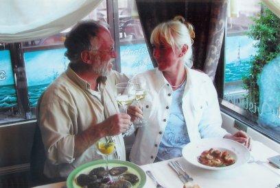 Voorjaar 2004: zij coquilles, hij oesters, in Ostende